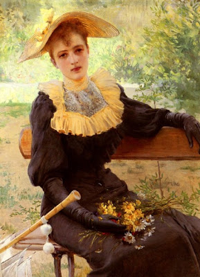Garden in Painting In The Garden by Vittorio Matteo Corcos
