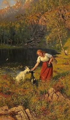 Genre Painting by Norwegian Artist Hans Dahl