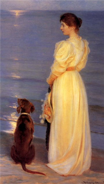 Painting by Danish Painter Peder Severin Kroyer. Summer Evening at Skagen, the Artist's Wife