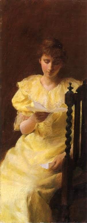 Art by American Impressionist Painter Charles Courtney Curran. Lady in Yellow