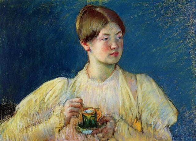 Woman in Yellow Dress in Painting by Mary Cassatt