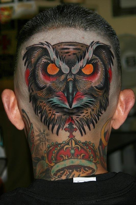 tattoos by stefan johnsson owl head