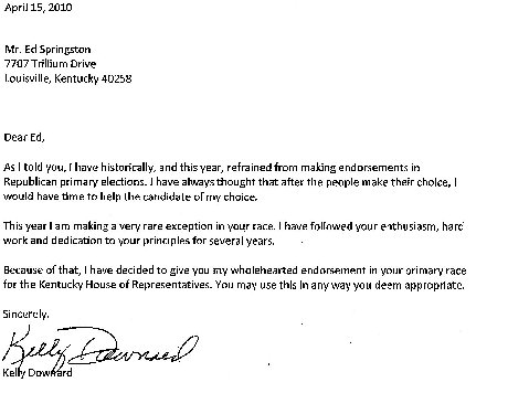 Example of Endorsement Letter Candidate http://springston.blogspot.com/2010_04_01_archive.html