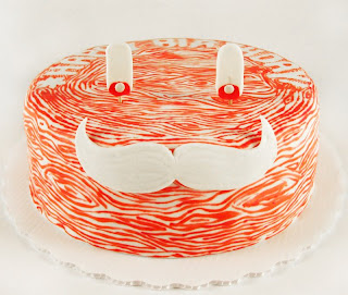 faux bois moustache cake from Cake Hero