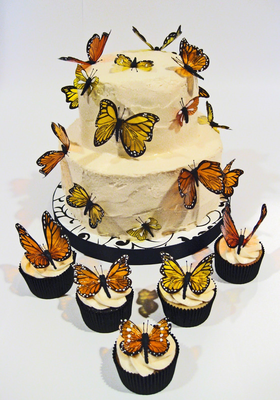 Cake Hero: Monarch Butterfly Wedding Cake and Cupcakes
