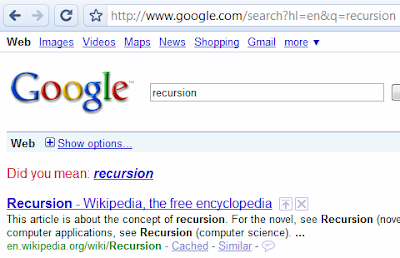 funny google search recursion