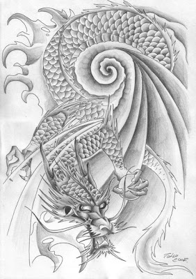 Best Chinese Dragon Tiger Tattoo, Chinese Dragon Tribal Design.