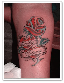 Letter and Rose Tattoo Combination With Heart Tattoo Designs