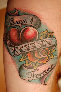 Heart Tattoo Combination  With Letter and Rose Tattoo  Designs