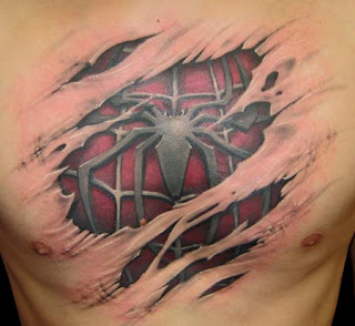 Chest Spider 3D Tattoo Design