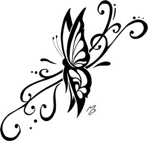 Tribal Butterfly Tattoo Design 7