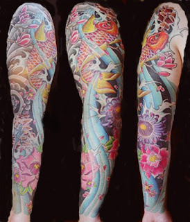 Japanese Koi Fish Sleeve Tattoo Design