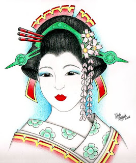 Japanese Geisha Tattoo Design 6