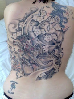 Back Piece Geisha Japanese Tattoo 4