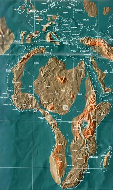 Mapa da África pós tribulação e tsunami, apocalipse mapas mundo 2036