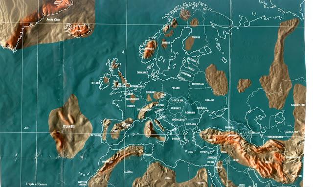 Mapa da Europa pós tribulação e tsunami, apocalipse mapas mundo 2036