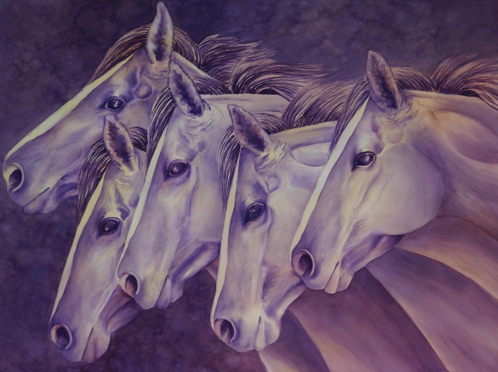 Watercolor artists in texas -  Running Horses Original Watercolor By Texas Artist Linda Bein
