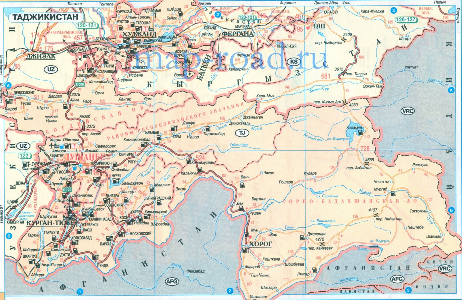 Pamir Mountains Physical Map The Image Kid Has It