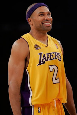 Derek Fisher #2 of the Los Angeles Lakers makes me smile