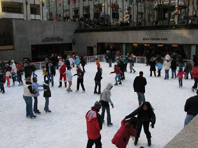 View of the Ice Skating Rink at Rockefeller Center as we wait in line on Christmas Eve Day in New York City