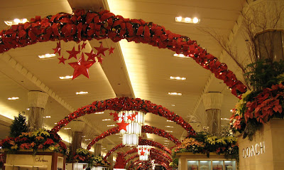 Macy's New York Christmas decoration with thousands of Poinsettias