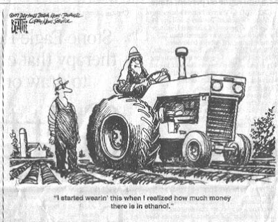 Ethanol Turns Corn Farmer into Oil King and puts on traditional Middle Eastern dress - Politcal Cartoon