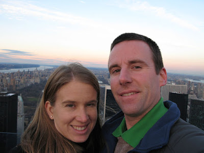 Ken and Ashley at the Top of Rock - Rockefeller Center at Sunset with a view towards Central Park