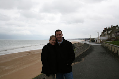 Ken & Ashley at Omaha Beach in Normandy while on vacation in France