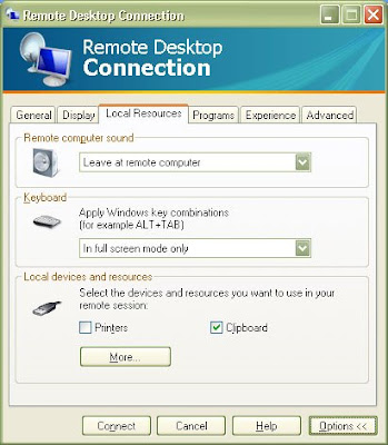 Fix for connection to Microsoft Windows Vista from Windows XP by changing local resources 1
