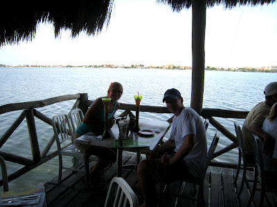 Eating at Senior Frogs on the Lagoon in Cancun, Mexico
