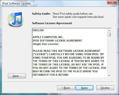 Accept the terms of the software license on Apple iPod 20GB upgrade to 60GB hard drive