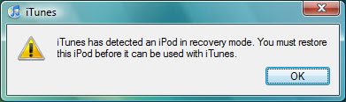 First connection to iTunes post upgrade on Apple iPod 20GB upgrade to 60GB hard drive