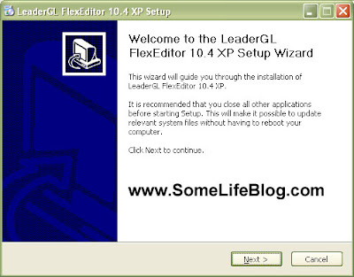 LeaderGL Flex Editor 10.4 XP setup screen.