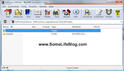 View of the P2KTools_0.8.6.rar archive from WINRAR