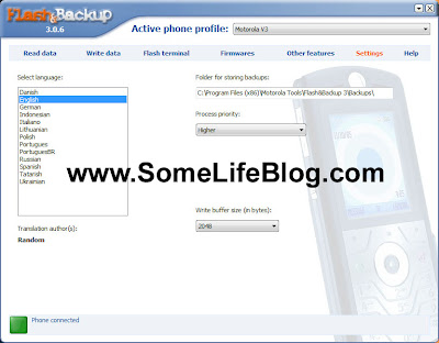 Backup your Motorola Phone how to guide picture 1 - How to configure the default settings.
