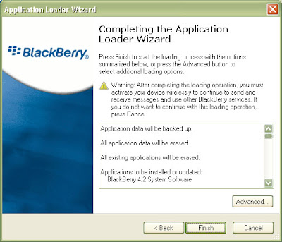 The Application Loader Wizer will confirm you selections before starting the upgrade process on your Blackberry.
