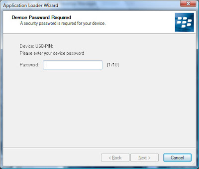Enter your password (if you have one setup in order to authorize the Application Loader to connect to your Blackberry device.