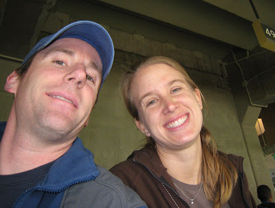Taking in Section 49 at Dodgers Stadium, Kenny & Ashley Hanscom