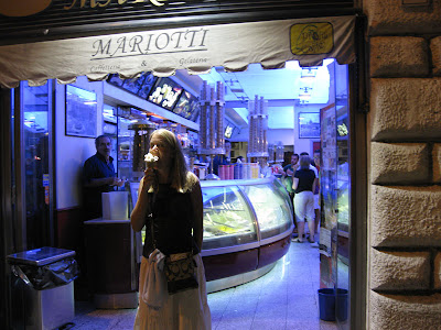 Mariotti's gelato is mentioned in several travel guides and books – and it should be.  It ended up being our favorite site for Gelato – getting our evening dessert there on 3 of 4 nights.  They were so good that they did not give me a hard time on the last night when I broke a 50 euro bill for 5 euros in ice cream.  That's a first!