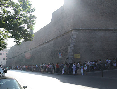 At 9:00am the line at the Vatican Museums already stretches around the corner.  Wow, right now we are really glad that we do not have to wait in that line.