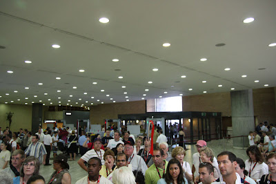 In the lobby after the first admission – it's crowded here – our group also grew in size just before we came inside to about 50.