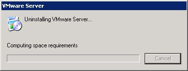 Uninstalling the VMWare Server 2.0 RC2 components took about two minutes for the VMWare installer.