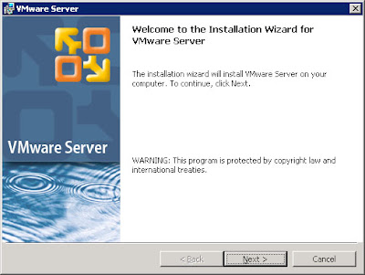 Standard VMWare Server installation process -- EULA, Legal, Install Directory, etc.