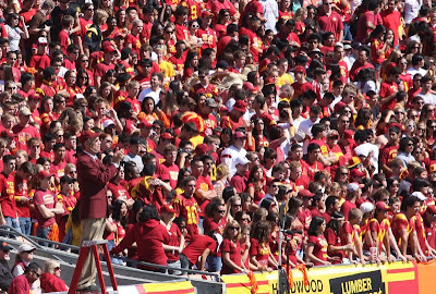 The USC Trojan student section filled up and ready to cheer on the team.