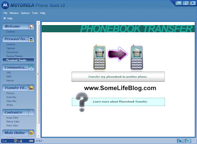 Motorola RAZR Transfer Phonebook: Click on the Transfer my phonebook to another phone icon to start the transfer phonebook wizard.