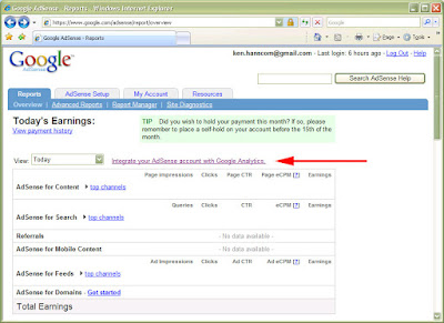 Integrate your AdSense account with Google Analytics.