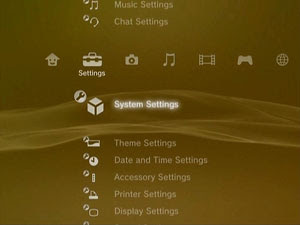 How to Backup the Hard Drive on your Sony Playstation 3: Go to  (Settings)  (System Settings) and press the X button.