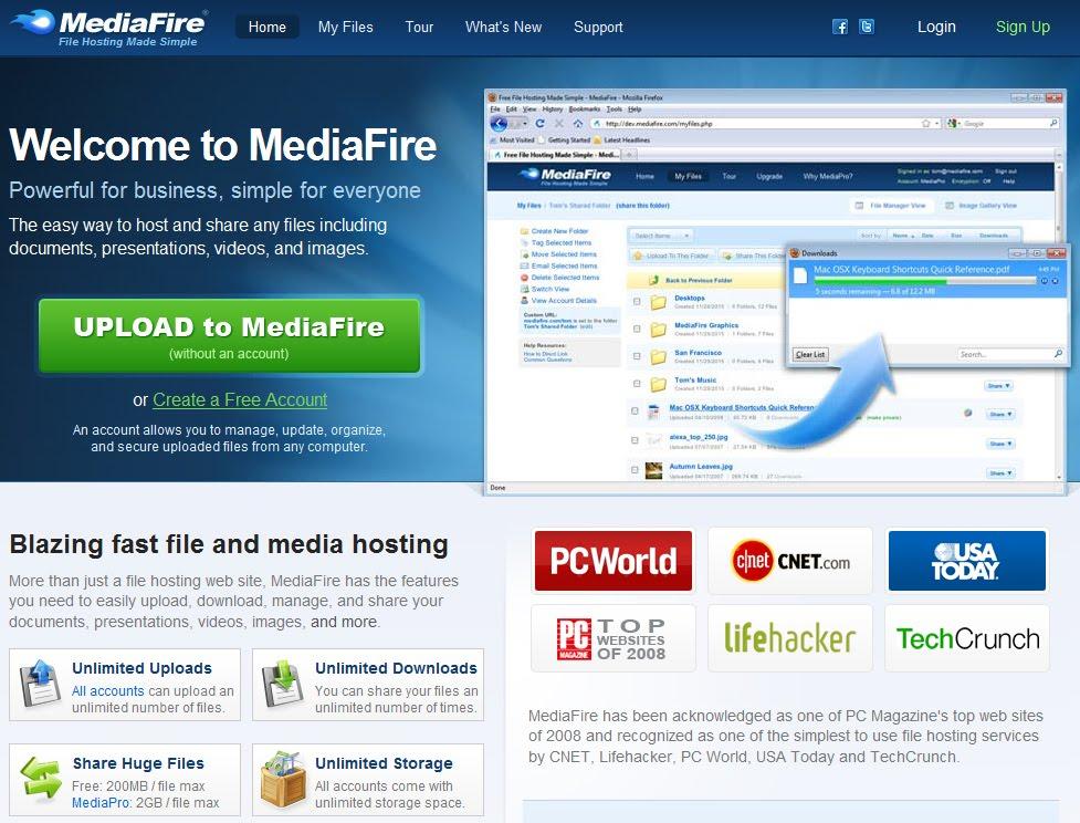 mediafire upload files