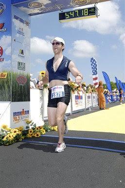 Aaron Fanetti finishing Ironman 70.3 Kansas