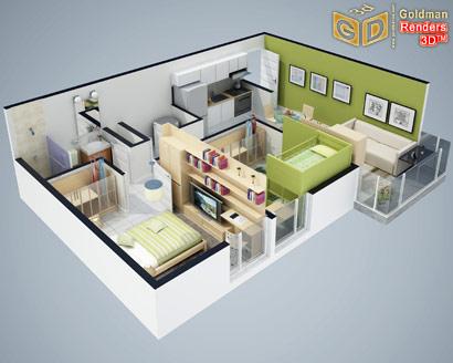 Junio 2010 blog goldman renders 3d for Planos de casas de una planta en 3d
